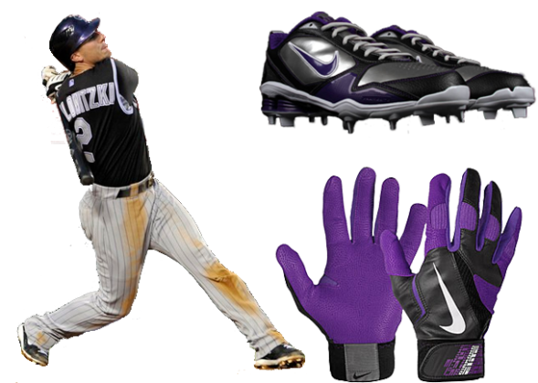 troy tulowitzki cleats, troy tulowitzki batting gloves, nike shox, nike diamond elite