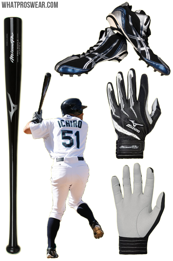 8d7d3afac585 What the Pro Wears: Ichiro (Bat, Batting Gloves, Cleats) · ichiro bat,  ichiro batting gloves, ichiro cleats, ichiro mizuno