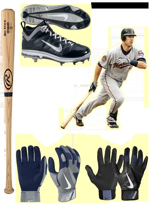 joe mauer bat, joe mauer cleats, joe mauer batting gloves, rawlings bat, nike batting gloves, nike cleats