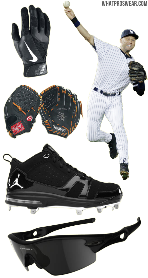 derek jeter glove model, derek jeter cleats, derek jeter sunglasses, rawlings prodj2, jordan jeter cut metal, oakley radar pitch