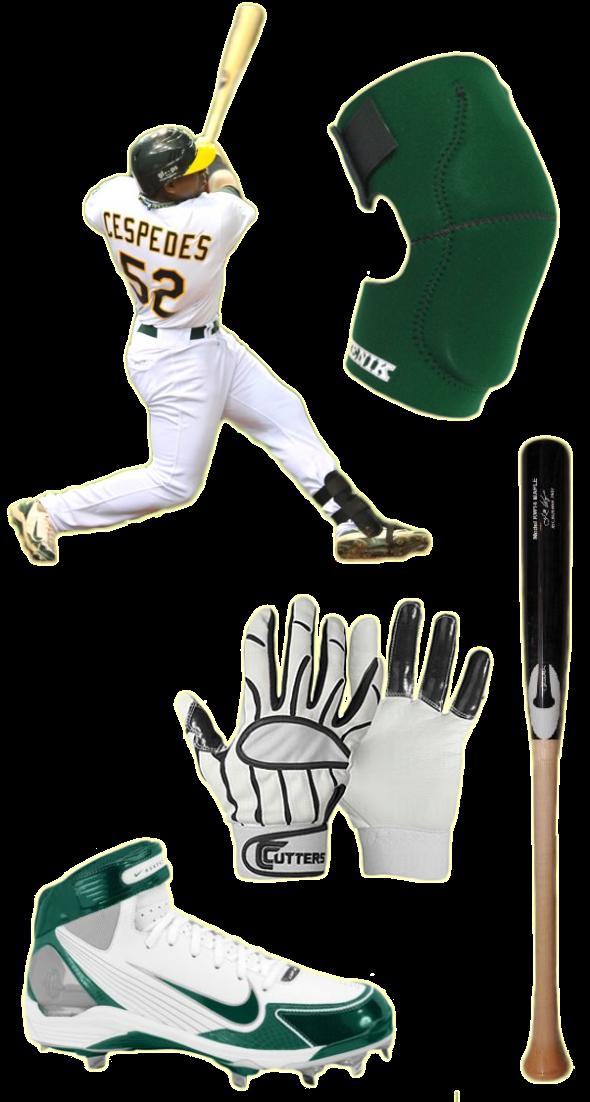 yoenis cespedes bat, yoenis cespedes batting gloves, huarache lwp90 cleats, chandler bat, cutters batting gloves