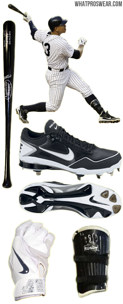 alex rodriguez bat, arod batting gloves, a rod cleats, a-rod leg guard