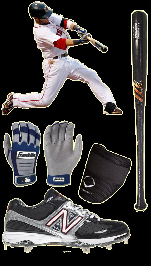 dustin pedroia bat, dustin pedroia batting gloves, cleats, marucci do34, franklin cfx pro, new balance 4040