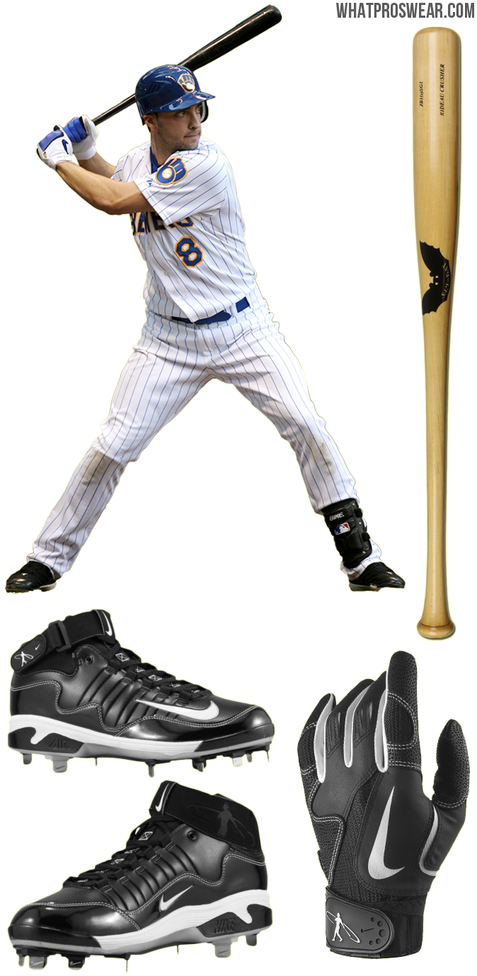 55b4f5a5dbae What the Pro Wears: Ryan Braun (Bat, Batting Gloves, Cleats, Shin Guard) ·  ryan braun bat, batting gloves, cleats, nike air swingman remix 2 cleats,