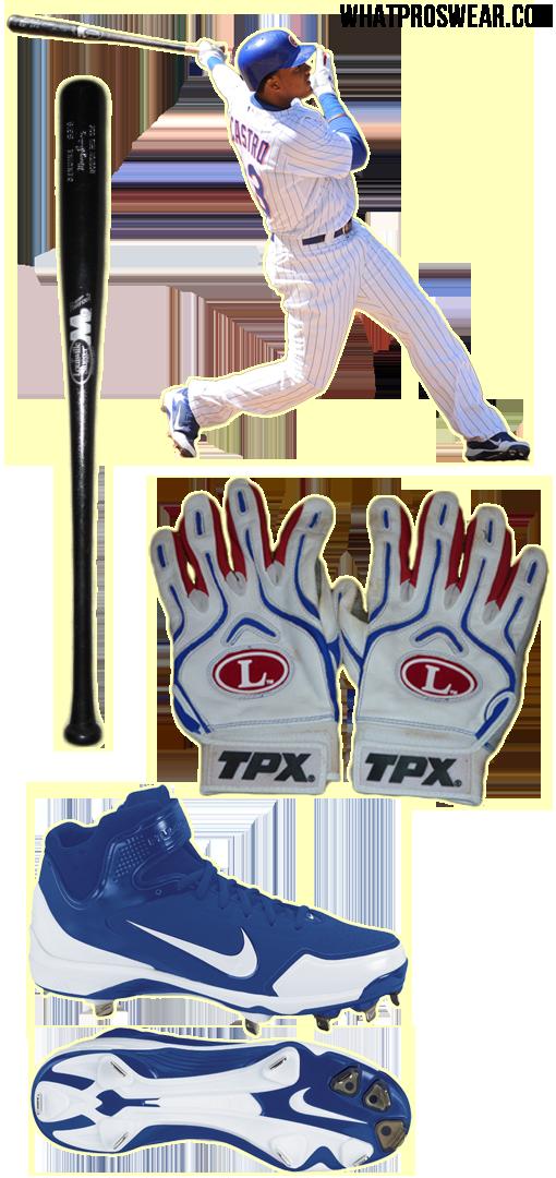 starlin castro bat, starlin castro batting gloves, cleats, nike huarache 2kfresh, louisville slugger m9 s318, louisville slugger pro