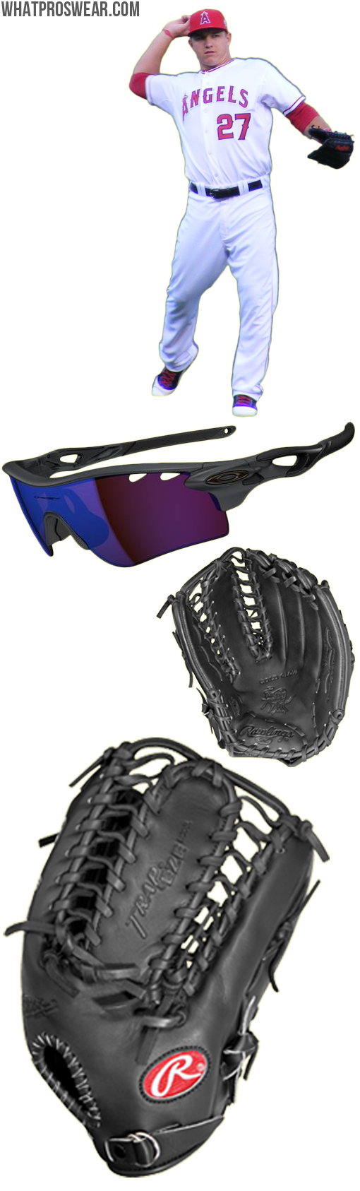 mike trout glove model, mike trout sunglasses, rawlings protb24, oakley radarlock path