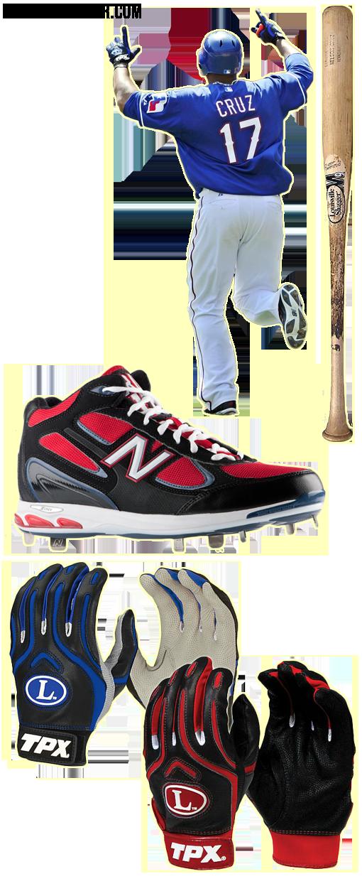 nelson cruz bat, nelson cruz batting gloves, m9 c271, tpx cb1 batting gloves, new balance 1103 cleats