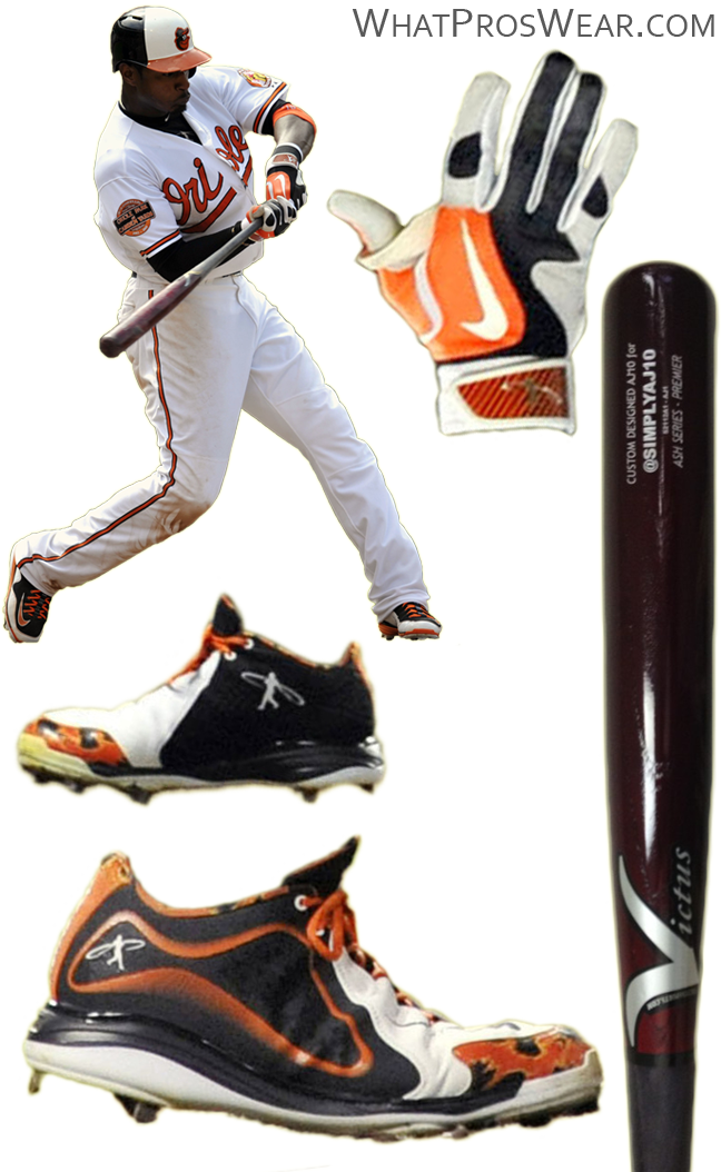 adam jones bat, adam jones batting gloves, swingman cleats, victus bat, swingman batting gloves