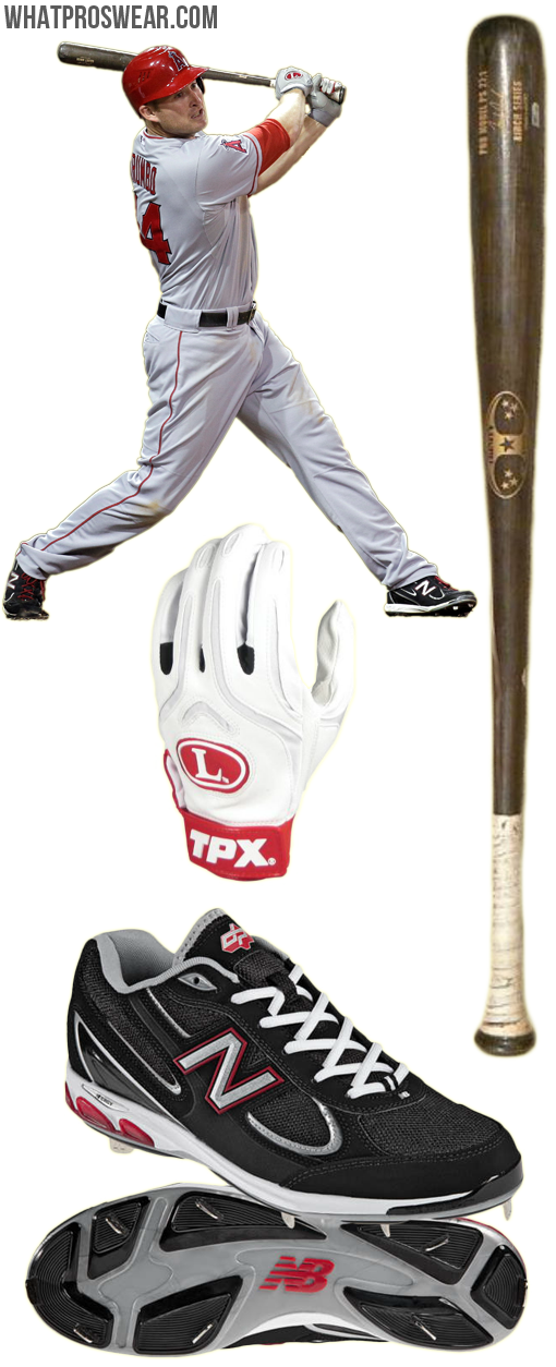 mark trumbo bat, trinity bat, tpx cb1 batting gloves, new balance 1103 cleats