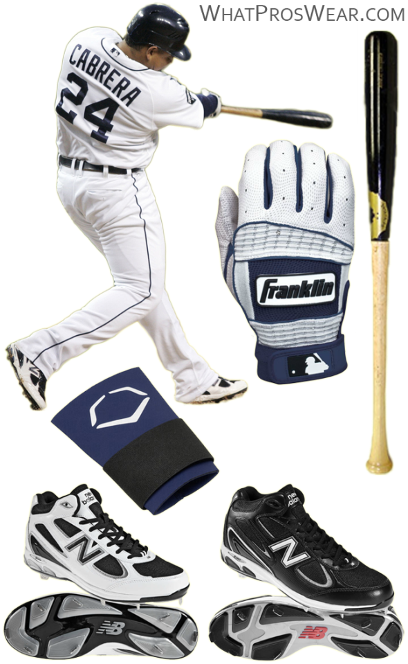 miguel cabrera bat, miguel cabrera batting gloves, sam bat, franklin neo classic ii, new balance 1103 cleats, evoshield wrist guard
